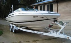 Specifications: Length: 22.5? Engine: 300 MercCruiser Inboard Motor, Outboard Propeller Colour: White and Black Includes: 2007 EZ Loader Trailer Brand New Kenwood Stereo Dock, built in USB and AUX chord attachment Barbecue, Sink, Table, Porta Potty,