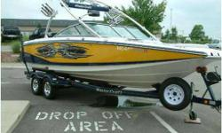 Yellow/Navy, Equipped Nicely. Options include Tower Speakers, Tower Lights, Mastercraft Cruise Control,Tower Mirror Bracket, Fiberglass Swim Platform, Full Mooring Cover and Tandem Axle Trailer. Standard options are Tower with Swivel Boardracks, Three