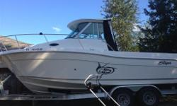 Bought new in June 2012. The boat has never been in the water longer than 4 days and is always kept in heated storage. Alaskan hardtop package, Large stand up cuddy with sink and flush head, table and butane stove, Standard Horizon marine radio, Raymarine