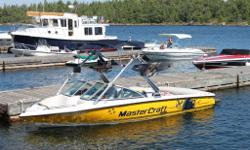 2008 Mastercraft X7 open bow with tower. Includes ballast tanks, cover, teak swim platform. Mint condition. c/w mastercraft trailer. Great slalom or Crossover boat!