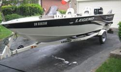 16.5 ft Legend XTerminator. Motorguide 55 Wireless trolling Motor50hp 4 stroke Mercury (less than 100hrs)Humminbird FishfinderLive Well2 Swivel ChairsDeep V 100 gauge Aluminum HullSwivel TrailerCoverSpare Prop (never been used)Spare gas tankNever stored