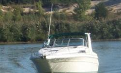"LOA 31'11"", Beam 10'6"",8000 lbs, TWIN Merc Alpha One V-8 5.7 litre, Fuel Capacity (gas) 120 gallons, 35 gallons Fresh Water Capacity, Draft 2'8"", Tonneau and full camper covers, V-Birth, Port Setee converts to dinette, Galley, Full Head, Air/Heat, Stereo,"