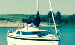 Sleeps 6 new jib sail (furler)-in great shape fresh water use only-50hp mercury 4 stroke with fresh tune up-factory trailer with brakes-very light to tow- retractable keel-anchor- galley -bathroom-dinette-vhf radio-drafts only 18 inches of water! Water