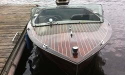 "1956 Shepherd ""Junior"" mahogany runabout. First model year for the baby Shepherd. 15'8"" length , 72"" beam with 20"" long shaft transom. Deck and transom completely rebuilt, all original hardware and windshield . Rebuilt and newly upholstered seats. New"