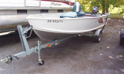 2008 ALUMACRAFT 14 PKG..$5495.00 JUST IN IS A REAL NICE 14 FOOT ALUMACRAFT V-14. DONE UP NICE WITH CUSTOM COVER, CUSTOM FLOOR AND SEATS, POWERED BY A 2008 YAMAHA 20HP 2-STROKE MOTOR SITTING ON A GALV TRAILER READY FOR THE WATER. $5495.00+HST+LIC.