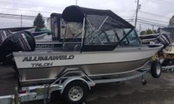 Package Includes: Mercury 60ELPT EFI 4ST / Rogue Galv. Trailer w/ Swing Tongue & Spare Tire / Auto Bilge Pump / Gauge Pack. / Full Canvas Top w/ Drop Cutain / Cushioned Rear Bench Seats on Storage Boxes / Storage under Helm & Passenger Seats / Full Fuel