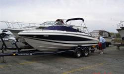 Includes Prestige Trailer, swim platform, convertible table/bed in cabin, toilet, sink, barbeque, Bimini cover, removable table, shower, depth finder, towable 4 person tube, life jackets, boat bumpers, ropes and anchor.