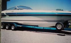 1988-2005 Sea Ray Pachanga re-powered in 2005 with brand new 502 engines with supercharger and brand new Bravo 1 drives.New leather hatch and seats as fridge,sink,enclosed head,sterio,battery charger,table,cover etc.New power has 200 hours is on a triple