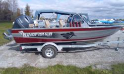 Instock featuring the 200 hp Yamaha - this KingFisher Flex 1925 is the ultimate in perfromance and style. Only $62,995 plus freight and pdi. This package features: Angler Package, Polished package, Smooth Moves, Galvanized Trailer, rear bench seat and