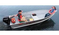like new Light Weight fishing boat Colors Unpainted aluminum : with Grey Fleck interior STANDARD FEATURES Aluminum bow & corner castings Bow eye Double-riveted seams Heavy-duty transom Marine-grade 5052 H34 aluminum Oar locks Oven-cured finish Poured-foam
