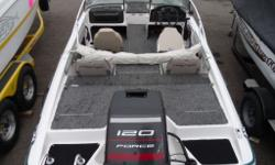 Mercury Force 120HP 2 Stroke, Bimini Top, MinnKOta Trolling Motor, Trailer Financing available come see this unit at VULCAN AUTOPLEX & MARINE..TAKE THE SCENIC DRIVE FOR GREAT SAVINGS (403) 485-4174