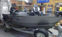 2012 LUND 1675 IMPACT. COMES WITH 90HP MERCURY, STEREO, FISH FINDER WITH GPS, TILT STEERING, FULL STAND UP ENCLOSURE TOP, COCKPIT COVER, 2 BANK ON BOARD CHARGER, REAR FOLD DOWN SEATS, TROLLING MOTOR, SPECIAL EDITION GRAPHICS, ANTI FEEDBACK STEERING,
