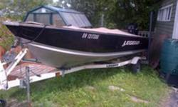 16.5' .100 Ga. aluminum with 25HP 4-stroke EFI Merc with tilt and electric start. On Legend trailer with loading guides. Has Min Kotta I-Pilot fishing motor with GPS, Digital compass and wireless remote. If you spot fish or a feature of interest, one