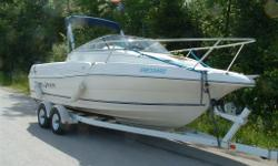 Volvo Penta stern drive Twin stainless steel propellers With 2000 Easy Loader twin axle bunk trailer (with brakes) Comes with 2009 Yamaha 9.9 h.p. 4 stroke electric start kicker motor 2 Walker power stainless steel double rod power removable swivel