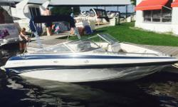 2006 Crownline 180BR (18? X 7?7?), MerCruiser 4.3L MPI 150 hours. 2007 Excalibur Trailer. This boat is White and Blue. Extended swim platform with 4 step ladder. The cockpit floorplan has 2 bucket seats w/ flip up thigh rise bolsters, full width Aft bench