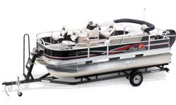 Who wouldn't love this all-time favorite!? The SUN TRACKER BASS BUGGY was America's first family fishing pontoon boat. A roomy and fishable favorite, it can host a crew of eight. There are three fishing seats inside the family-friendly fenced deck. And