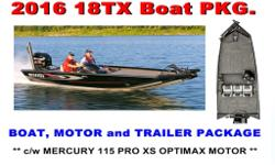 Boat, motor and Trailer Pkg. 155 Mercury Pro XS Motor Overall Length - 17'8, Beam - 96, Bottom Width - 80, Side Depth - 23.5, Hull Gauge - .100, Shaft Length - 25, Livewell Capacity - 22 gal./12 gal., Fuel Capacity - 24 gal., Recommended Horsepower Range