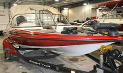 RED & BLACK, BIMINI TOP, LADDER, YAMAHA F150TLS, SINGLE OUTBOARD, 4 STROKE, STAINLESS STEEL PROP, AM/FM/CD