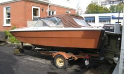 Firberglass 16' runabout boat Sunray mfg. 1975 - with a 85 HP Johnston outboard , engine last ran summer 2010 , c/w working trailer