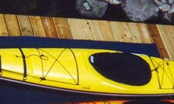 The Alvik is a fiberglass kayak designed for intermediate paddlers. It is a maneuverable, comfortable kayak built for performance. It has hatches front and back and a total load capacity of 400L.Foot pedal controlled rudder and weighs 51 lbs. It is yellow