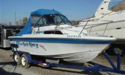 Very nice fishing package powered by a rebuilt 3.0 Mercruiser Alpha 1 with only 181 hours. Features include newer canvas enclosure, 2 Big John downriggers, cuddy cabin with porta potti, VHF, stereo, trim tabs, rod holders, kicker mount and matching tandem