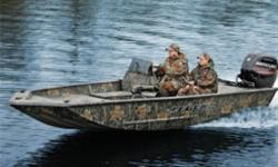*Package includes boat, Mercury 75 h.p. 4 stroke outboard and Legend's Glide-on trailer. The perfect boat for hunting and fishing the big water. This rugged camo 'mossy oak' boat features a big forward deck to land that trophy and storage to hold all of