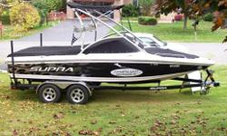 Includes: Boatmate Supra Custom Tandem Trailer, Bimini Top, Swivle Board Racks, Gravity III Ballast (1400lbs),Perfect Pass, Tilt Steering and MUCH more... Specifications Length Overall (LOA): 248 Features