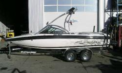 CALGARY Excellent Condition & Very Well Equipped! 325 HP Indmar V-Drive Engine, Seating for 10, Tower, 2 Tower Speakers, Tower Mirror, Bimini Top, Board Racks, CD Stereo with Amp & Sub, Ski Pylon, Cruise Control, Wakeplate, Pop-Up Cleats, Docking Lights,