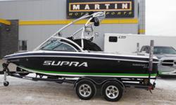 WEST EDMONTON Nice Water Sports Boat with Low Hours! 5.7L 340 HP V-Drive Indmar Engine, Seating for 10, Supra Tower with 4 Roswell Speakers, 3 Roswell Tower Lights, Tower Mirror, Zero Off Cruise Control, Wake Board Racks, Digital Dash Display, Amp/Sub,