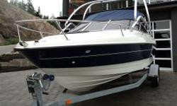 21 feet, 5 litre Mercruiser, large cuddy, sleeps 2 with optional seating. Deep vee Hull with 9 passenger rating. Swim platform with ladder, bow railing with anchor compartment, front seats fold to sun beds, rear seats turn into sun deck, Sunbrella snap-on