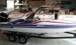 END OF SEASON CLEAROUT!! NOW ONLY $13900!! Gorgeous Checkmate. Powered with a 1996 250hp Mercury EFI, has power lift, cover, Ski Bar, upgraded clarion stereo, Excellent condition! Very fast and stable boat, great for the small lakes and capable of running