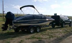 215 Tracker Tahoe deck boat is both beautiful and rugged. This 21.2 ft boat is the perfect platform for any water activity. 2 Heavy Duty swivel stowable fishing chairs, rod storage, aerated livewell, Lowrance depth finder, $600. Removeable Fish finder 4