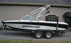 2006 SUPREME 220 $25990 This Boat Has 200 Hours and A Black Scorpion 330 HP MPI CD Stereo Travel Cover Tandem Axel Trailer In Floor Ski Locker Factory Ballast Bimini Top Tower Speakers Teak Swim Step We Will Consider All Types Of Trades and Offer