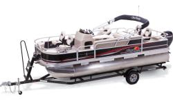 Born to fish. And entertain, too! Fishing or partying, the SUN TRACKER® FISHIN? BARGE® 22 DLX will thrill your whole crew. Anglers will love the four fishing chairs, two livewells, built-in fish rulers and a top-loading rod box, plus plenty of rod and