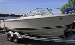350 Mag MPI Bravo III Mid engine set-up, Fully enclosed bimini top, Welded Stainless bow rail open to bow, Anchor locker in bow, Fiberglass swim platform w/ 2 step ladder, Ritchie compass, Teak coamings, Interior boarding ladder. IN STOCK NOW! Used trades
