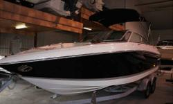 END OF SEASON CLEAROUT!!! PRICE REDUCED!!!! NOW ONLY $49900! Volvo Duo-Prop, Walk thru transom, Docking lights, snap-in carpet, bimini top, full covers, only 300 hrs. Nicely optioned, Call for details on this rare find!!!! No charge local delivery,