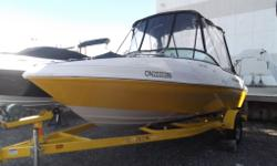 Bimini top with full canopy, walk through transom, Tilt steering, depth sounder, stereo, Large swim platform with ladder, large sun deck, ample room for storage. Matching Trailer