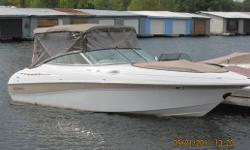 A very unique opportunity on this beautiful 24 foot bowrider with mid ship cuddy. This section acts as a washroom and also has ample storage and a fridge. This boat runs exceptionally well especially in rough water. It has very low hours (under 40) and is