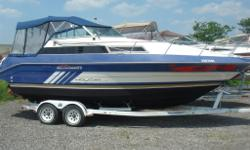 1988 Cruiser 2470 Holiday with 5.7L OMC Great Starter boat for any Local water ways! Engine rebuild - 3 years ago Camper enclosure Windlass Swim Platform Transom Bench Seat Port side Bench facing drivers seat Captains Chair at the helm Standard Horizon