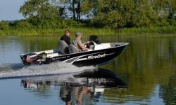 POPULAR OUTFITTER SERIES 1677 WITH SIDE CONSOLE WITH REMOVABLE WINDSHEILD, TWO TONE GREY/BLACK GRAPHICS WITH RAISED CHROME MIRROCRAFT LOGO, HORN, QUICK RELEASE MINNKOTA TROLLING MOTOR, HUMMINGBIRD DEPTH/FISH FINDER, 4 STAINLESS STEEL FLIP UP CLEATS, REAR