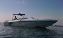 1998 Checkmate Convincer 253 27'. The wife wants a quieter boat with a fridge and shower, so I have to let her go. I will miss that deep rumble - the boat has silent choice exhaust but without the silent choice it sounds amazing. Good for tuning out the