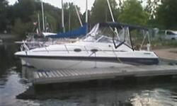 This aft cabin cruiser is in excellent condition and a great weekend cruiser. The blue camper top offers protection from both the sun and inclimate weather and coordinates with the cobalt colouring of the hull. In the cockpit you will find a dual helm