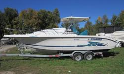 1998 Stratos 270 2 X 225Hp Johnson 2/stroke engines 1993 Lawrance Elite 5 VHF Radio Fresh water wash down Live well Rod holders Cuddy cabin with sink and head New windless with 150' anchor rope Cruising speed of 30mph 50mph top speed Rear seat fold up to