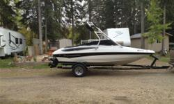 This is a loaded 18.5 foot Crowline boat equipped with wake board tower. This boat is in new condition and only used 7 times since new. The boat has 6 hours of use . The boat is currently in storage. The color is black and white . Pricing is firm. New