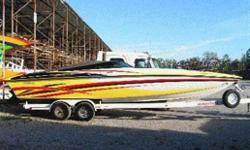 Excellent condition, custom paint, rebuilt 502 with bravo 1 drive. great looking, and running boat, on a custom tandem axel trailer.  Make an offer