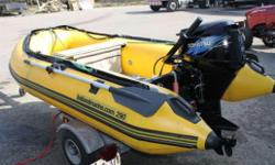 2009 HMP 290AL inflatable powered with a Tohatsu 9.8 electric start 4-stroke (2011?) and galvanized trailer (2010). Package was bought new in 2011. Comes complete with aluminum floor, spare tire, electric bilge pump, foot pump w/ hose, lines, paddles, &