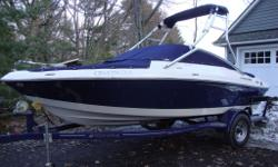 New non-current bought at 2014 Boat show. Brand new! Complete with Four Winns trailer. Aluminum wake-board tower with bimini top plus 2 pc. mooring cover. Blue trim. Boat is located in Bracebridge on L. Muskoka.