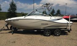 WEST EDMONTON Spacious Boat with Tons of Amenities! 310 HP SeaDoo Rotax Engine, Seating for 10, Tower with 2 Speakers & Mirror, Digital Dash Display, 2 Board Racks, iPod Integration, Stereo, Transom Remote, Cup Holders, In-Floor Storage, Depth Finder,