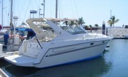 2001 MAXUM 3000 SCR TWIN 5.0 LITRE MERC CRUISER ENGINES WITH BRAVO II OUTDRIVES c/w 2010 TRIPLE AXLE ALUMINUM TRAILER WITH SURGE BRAKES APPROX. 550 HOURS 30' CRUISER WITH 4' SWIM PLATFORM (INSTALLED IN 2010) NEW RAYMARINE NAVIGATION SYSTEM NEW UPHOLSTERY