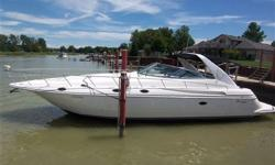 Twin Merc 8.2 Horizon engines, camper top, snap in carpets thru out, wet bar with fridge, very wide beam, two bedrooms with heads, vacu flush system, stereo system thru out, extended swimplatform, walk thru windshield to sun pad, AC / heat, windlass,
